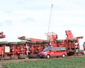 All terrain crane overturned in Germany