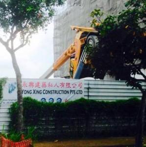 Crane overturn in Singapore